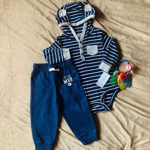 Two Piece Set Hooded Long Sleeved Onesie + Pants